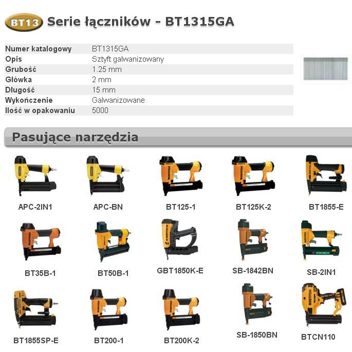 BOSTITCH SZTYFTY BT13 15mm 5000 szt.