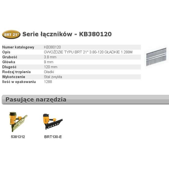 BOSTITCH GWOŹDZIE BRT21 3,80 x 120mm 1288 szt. KB380120