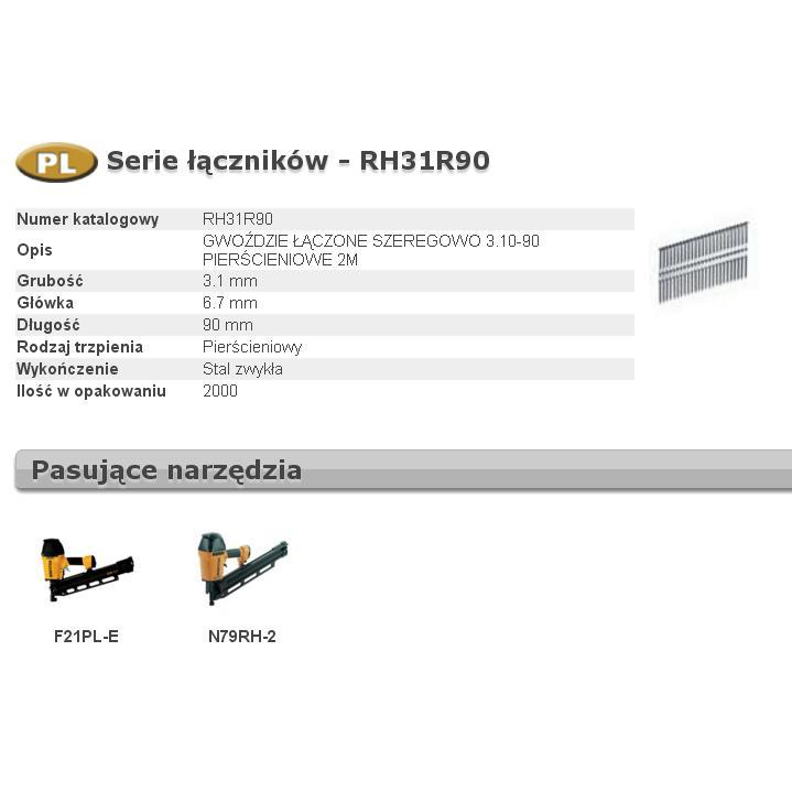 BOSTITCH GWOŹDZIE RH 3,1 x 90mm 21` RING 2000 szt.